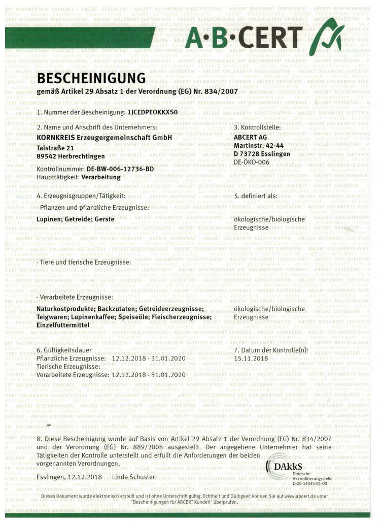 EU-Bio Zertifikat bis 31.1.2020
