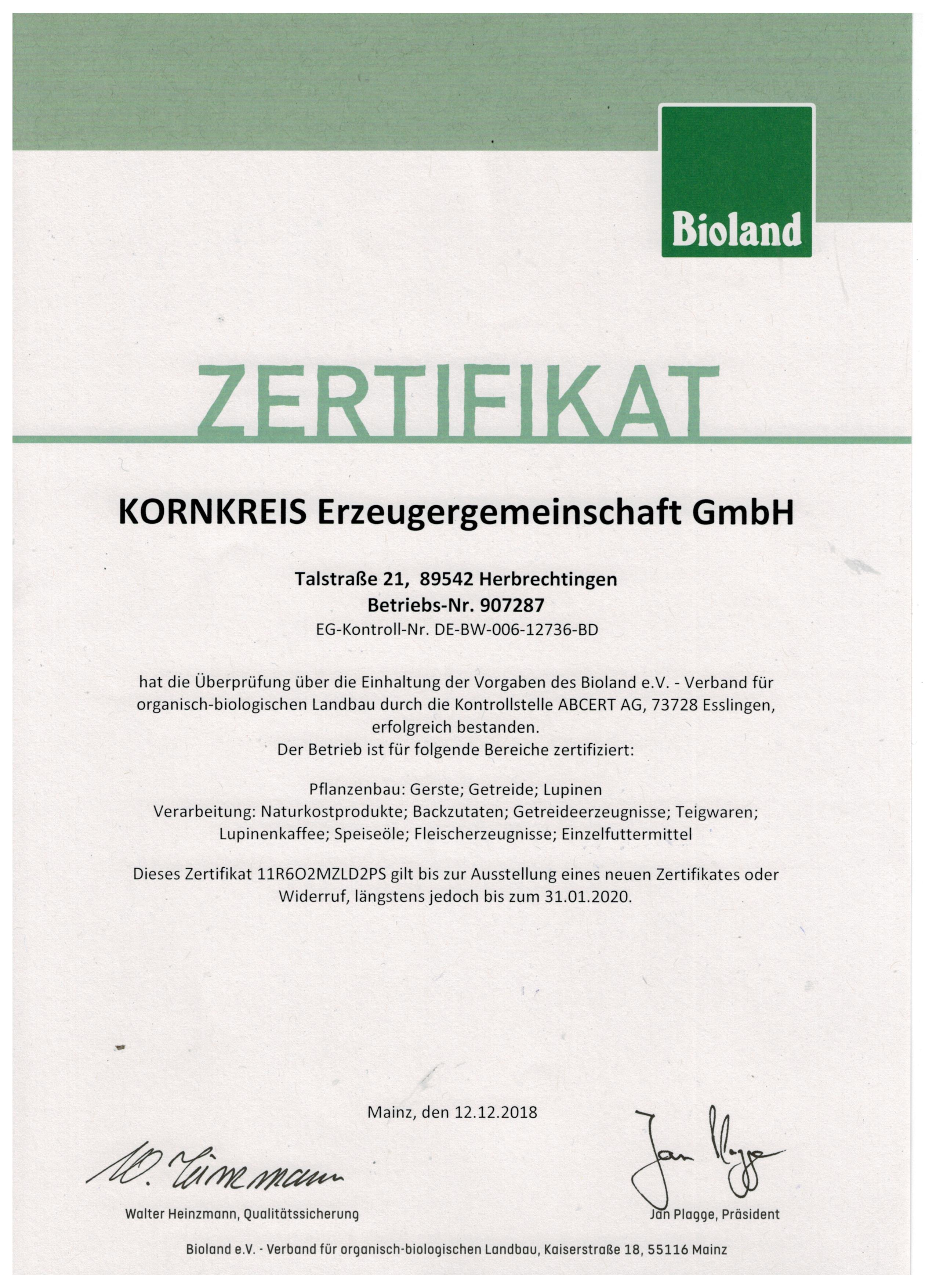 Bioland-Zertifikat bis 31.01.2020